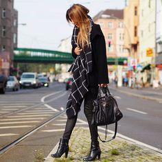 Patrizia Pepe Wool Coat, Zara Scarf, Witty Knitters Leather Pants, Balenciaga Bag, Mai Piu Senza Ankle Boots