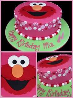 pink and red elmo birthday cake inspired by michelle cake designs -- love this, but maybe with a white background with sesame street coloured ploka dots