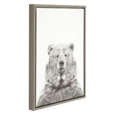DesignOvation Sylvie Bear Black and White Portrait Canvas Wall Art by Simon Te Tai - 211427