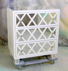 Sydney Barton - Painted Furniture---could use the mirrors behind the hall table grids where the speakers? Mirrored Furniture, Painted Furniture, Diy Furniture, Wallpaper Furniture, Paint Wallpaper, Painted Dressers, Distressed Furniture, Unique Furniture, Furniture Projects