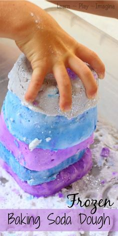 Two ingredient frozen dough recipe for sensory and imaginative play
