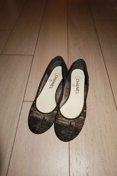 9dcdb40fface Chanel Black Lace Mesh and Leather Cap Toe CC Elastic Ballet Flats Size 36   fashion