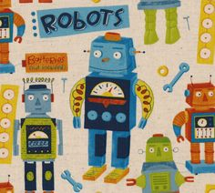 Fabric - Kokka (Nancy Wolff) Robots - Natural by PaperbarkCreations on Etsy https://www.etsy.com/listing/152055322/fabric-kokka-nancy-wolff-robots-natural