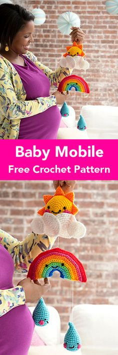 Crochet Patterns For Kids Baby Gifts – Krazykabbage Crochet Baby Mobiles, Crochet Baby Toys, Baby Girl Crochet, Crochet Gifts, Crochet For Kids, Crochet Yarn, Free Crochet, Newborn Crochet Patterns, Baby Kind