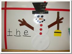 Snowman Hangman! Make each part of the snowman separately, laminate, put magnetic tape on back  and you're set.