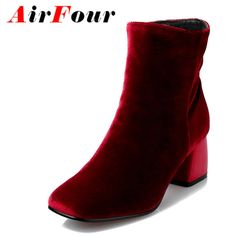 42.80$  Buy here - http://ai7ji.worlditems.win/all/product.php?id=32716936726 - Airfour Winter High Heels Ankle Boots Women Nubuck Charms Shoes Woman Sexy Red Boots Med Heels Square Toe Boots Size 34-43