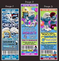 Smurf Party Ticket Invites