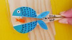 Tinker with clothespins - instructions - Basteln mit Kindern - Crafts For Teens, Diy For Kids, Diy And Crafts, Arts And Crafts, Puppet Crafts, Fish Crafts, Mason Jar Diy, Preschool Crafts, Kids And Parenting