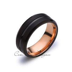 8MM New Black and Rose Gold Tungsten Wedding by CemCemDesignz