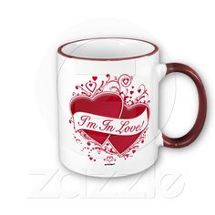 I'm In Love! Red Hearts from Zazzle.com. Who does not want to wake up with this gem? This saying is on 97 products! Available in everything from stickers, clothing, totes, pillows, etc.