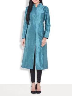 Buy Smriti Gupta teal art Raw silk sherwani style kurta Online, , LimeRoad