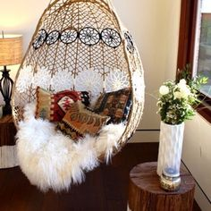 boho feathers hippie bohemian home decor fluffy pillow holiday gift dress home accessory white strings lifestyle sheepskin throw hammock bedroom floral flowers fur pattern boho decor