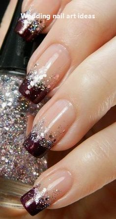 Teen nail designs · wine glitter french beauty nails, glitter french nails, sparkly nails, glitter nail tips Glitter French Nails, Sparkly Nails, French Tip Nails, Glitter Nail Art, Glitter Wine, Plum Nails, French Nail Art, Nail Glitter Design, Neutral Nails