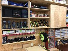 How do you store your nailers is part of Garage workshop - Garage Workshop Organization, Diy Garage Storage, Workshop Storage, Home Workshop, Shed Storage, Tool Storage, Lumber Storage, Workshop Ideas, Plan Garage