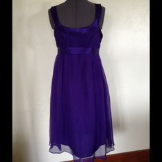 "Nordstrom DONNA MORGAN Silk Dress Beautiful dark purple Donna Morgan dress.  100% silk shell. Fully lined.  Side zipper closure. Empire  waist 30"".  Length (under armpit to hem) 31"".  New condition, no signs of wear. No rips, stains, or tears. Donna Morgan Dresses"