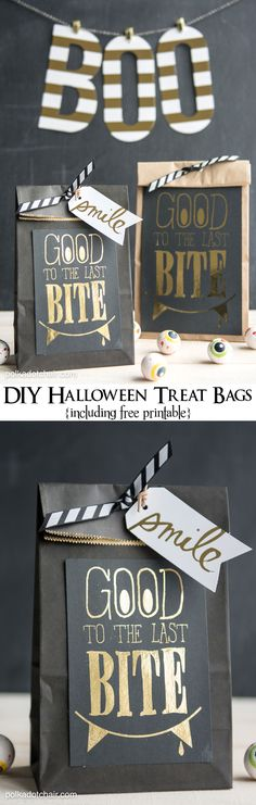 """Good to the Last Bite"" DIY Halloween Treat Gift Bags- Includes a free ""foil ready"" printable. Wouldn't these be great for a Halloween party favor or to take in for coworkers? Casa Halloween, Diy Halloween Treats, Halloween Bags, Holidays Halloween, Happy Halloween, Halloween Decorations, Halloween Party, Halloween Banner, Halloween Goodies"