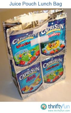 This is a guide about making a recycled juice pouch lunch bag. Save your empty juice pouches and make this fun, recycled craft with your children.