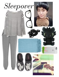 """""""Sleepover; Youngjae"""" by got7-bangtan-style ❤ liked on Polyvore featuring Calvin Klein Underwear, Haflinger, Muse, Urbanears, Casetify and Surya"""