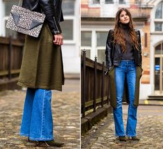 M.K.- Asos Leather Jacket, Vila Cardigan, Line Of Oslo Jeans, Dolce & Gabbana Boots, Saint Laurent Bag
