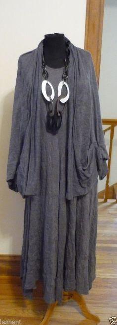 NEW  KEDEM SASSON  GREY WRINKLED ASYMETRIC HEM DRESS W/ COCOON COAT #KEDEMSASSON #DRESSANDJACKET