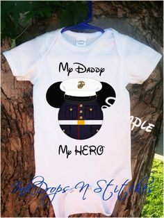 Marine Military Mickey Mouse My Daddy My Hero by InkDropsNVinyl, $15.99 All name available  Customize