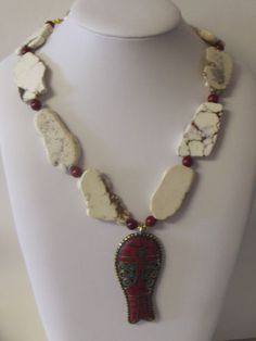 White Red Turquoise Slab Brass Glass Beads Sterling Necklace Earrings Free Ship