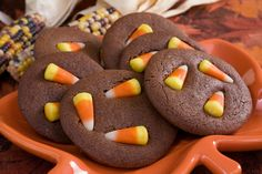 Chocolate Candy Corn Cookies