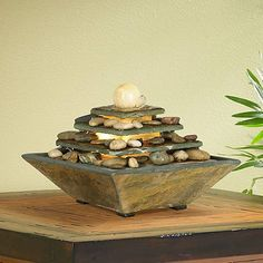 Pyramid Feng Shui Ball Lighted Table Fountain See More Four Tiers Copper And Slate 9 High