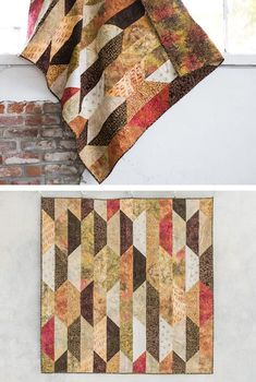Quilt Kit - Sew the Suburbia Fox Sparrow quilt in soft, neutral earth tones. This simple quilt design comes in a kit, complete with both the quilt pattern and fabric. Plus browse even more beautiful quilt kits at SewingSupport.com. #quilting #quiltpattern #quiltpatterns