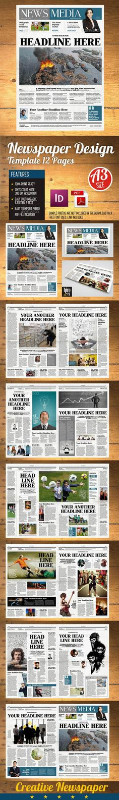 24 Pages Daily Newspaper | Newsletter templates, Newspaper and ...