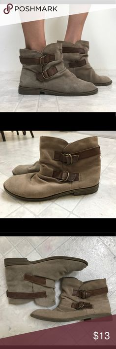 Sonoma Taupe Ankle Boots Good condition Boots. Comfortable! Have slight wear on front from material rubbing together while walking. Two adjustable straps. Sonoma Shoes Ankle Boots & Booties