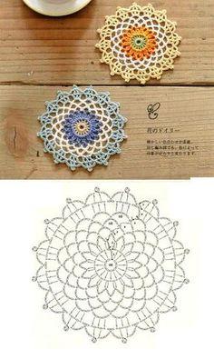 PP said: Note to self- crochet these with huge hook, would look great really big.lots of motif patternsLove this, you could change the back ground to your liking! except its crochet Crochet Coaster Pattern, Crochet Mandala Pattern, Crochet Flower Patterns, Crochet Diagram, Crochet Chart, Crochet Designs, Crochet Doilies, Crochet Stitches, Crochet Home