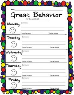 FREE ! Keep track of your student behavior with this weekly log.  I use a card color system in my classroom, and at the end of the day, the students color...