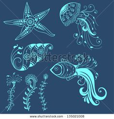 Vector abstract marine creatures in indian mehndi style. Abstract henna floral vector illustration. Design element. by GarryKillian, via Shu...