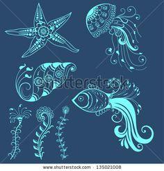 Vector abstract marine creatures in indian mehndi style. Abstract henna floral vector illustration. Design element. by GarryKillian, via Shu...