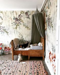 Marie Olsson Nylander // vintage kids room with fl. Marie Olsson Nylander // vintage kids room with floral wallpaper, olive green canopy, and antique wood bed Canopy Bedroom, Baby Bedroom, Girls Bedroom, Bedroom Decor, Bedroom Ideas, Kid Bedrooms, Magical Bedroom, Canopy Crib, Bedroom Designs