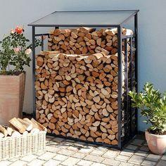 Firewood storage size 1 anthracite gray stove-enamelled 128 x 69 x 162 cm - . Outdoor Firewood Rack, Firewood Shed, Firewood Storage, Backyard Patio, Backyard Landscaping, Pallet Garden Furniture, Wood Storage Sheds, Design Maker, Diy Fireplace
