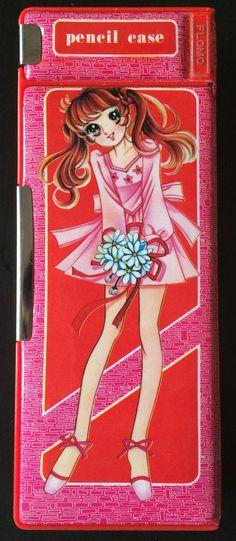 Vtg Flomo Pencil Case Japanese Magnetic Anime 70s 80s Girls Flowers FM 100-51