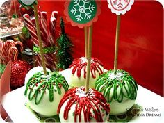 White Chocolate covered apples.  !!!   So pretty & festive.........
