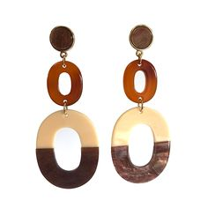 TWO OVAL HOOP DROP EARRINGS Happy Shopping, Hoop, Buttons, Drop Earrings, Brown, Stuff To Buy, Collection, Jewelry, Jewlery
