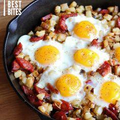Cajun-Style Hash Browns Recipe Breakfast and Brunch with Potatoes O'Brien, butter, garlic, andouille sausage, eggs, cajun seasoning, Tabasco Pepper Sauce, pepper jack