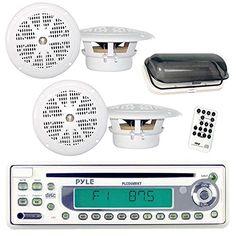 Pyle Marine Stereo Radio Headunit Receiver & Speaker Kit, MP3/USB/SD Readers, CD Player, AM/FM Radio, Single DIN, (4) Waterproof 5.25'' Speakers, Splash Proof Cover (White) Pyle http://www.amazon.com/dp/B001FB5TZO/ref=cm_sw_r_pi_dp_rjn2wb0PR6ZGS