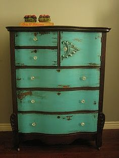 Turquoise and Brown Dresser @ Home DIY Remodeling