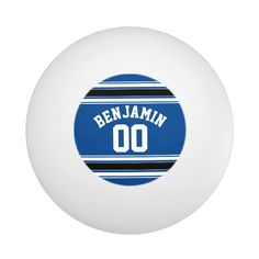 Blue and Black Jersey Stripes Custom Name Number Ping Pong Ball - tap/click to get yours right now! #PingPongBall  #football #teams #teen #fantasy #college