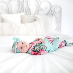Posh Peanut Knotted Gown & Headband Set in Aqua Floral Baby Sleepers, Newborn Outfits, Newborn Clothing, Kids Outfits, Baby Play, Cool Baby Stuff, Kid Stuff, Baby Boutique, Baby Girl Fashion