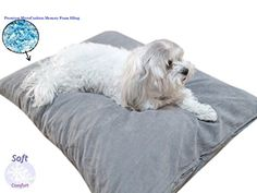 Durable Comfort Microcushion Memory Foam Pet Dog Pillow Bed with Waterproof Liner  External Cover for SML Dogs Complete Set Gray Microsuede 36x29 -- You can find more details by visiting the image link.