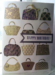 CTMH handbags birthday handmade card. Using Close to My Heart exclusive Cricut® Artfully Sent cartridge collection. www.maz.closetomyheart.com.au
