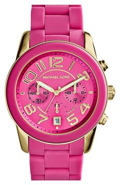 Mercer Pink Silicone Chronograph Watch Shiny gold-tone indexes flawlessly complement the pink vertical brush dial of this gold-tone stainless steel and pink silicone Michael Kors Mercer watch. Michael Kors Outlet, Michael Kors Mercer, Handbags Michael Kors, Michael Kors Bag, Michael Kors Watch, Mk Handbags, Hot Pink, Pink Love, Pink And Gold