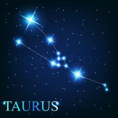 Vector of the taurus zodiac sign of the beautiful bright stars stock photo