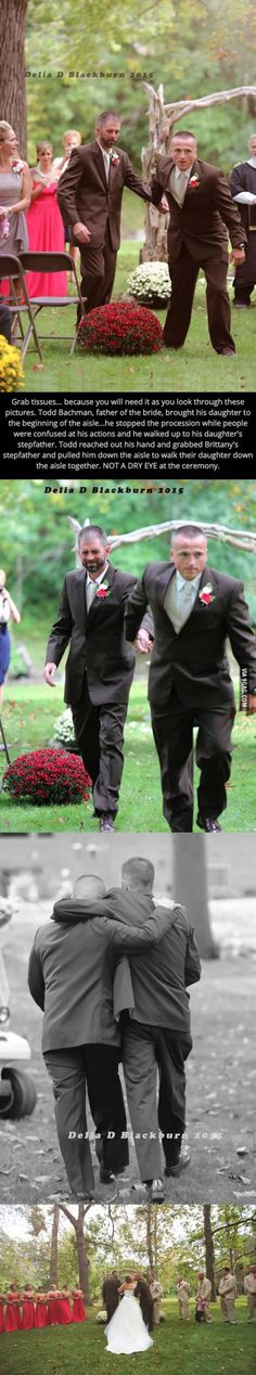 Father of the bride stops wedding procession to walk his daughter's stepdad up the aisle with him. Beautiful pictures.